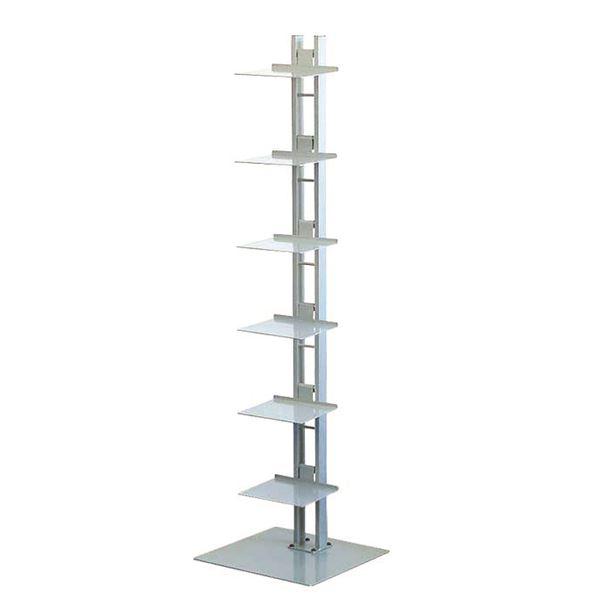 タワーシェルフ/収納棚 【シルバー】 幅35cm×奥行33cm×高さ130cm 日本製 スチール製 棚板6枚付き 『シャトー』【代引不可】