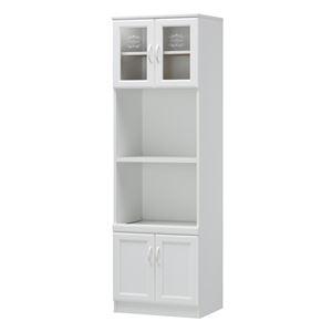 カップボード/食器棚 【ホワイト】 幅566mm 2口コンセント 扉収納付き 『セシルナ』 〔キッチン 台所 ダイニング〕 組立式【代引不可】