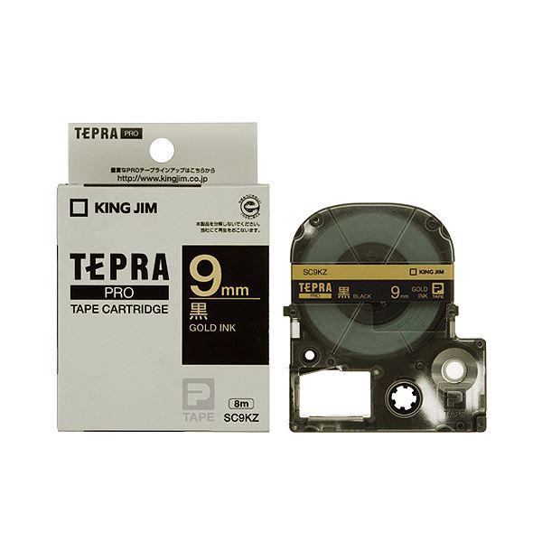 (まとめ) キングジム テプラ PRO テープカートリッジ パステル 9mm 黒/金文字 SC9KZ 1個 【×10セット】