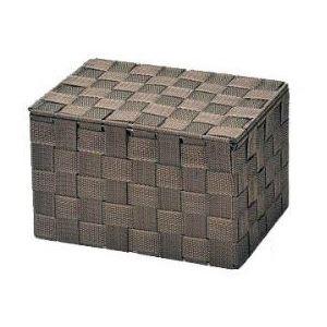 (まとめ) フタ付き 収納ボックス/収納ケース 【ダークブラウン】 幅23×奥行16×高さ14.5cm PP編み 小物入れ 【×24個セット】