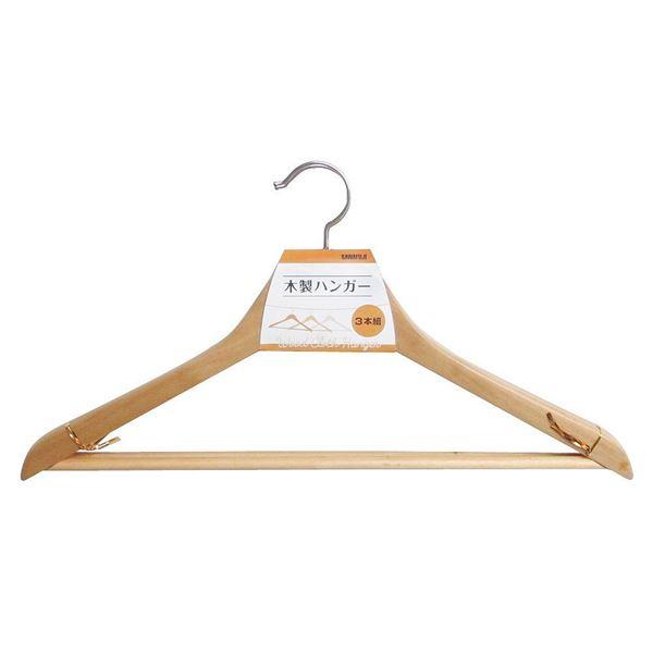 (まとめ) 衣類ハンガー/木製ハンガー 【3本組】 天然木材使用 【×40個セット】