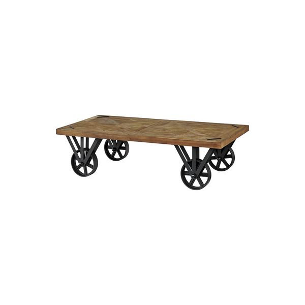 トロリーテーブル/ローテーブル 【幅120cm】 木製 アイアン キャスター付き 『ヒストリア』 〔リビング 店舗〕【代引不可】