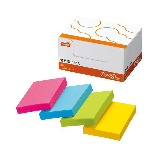 TANOSEE 強粘着ふせん75×50mm 4色 1セット(30冊:10冊×3パック) 【×10セット】