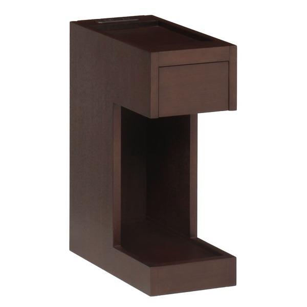 サイドテーブル/ミニテーブル 【ダークブラウン 幅20×奥行36cm】 引き出し 2口コンセント付き 『ナイトテーブル』 〔リビング〕【代引不可】