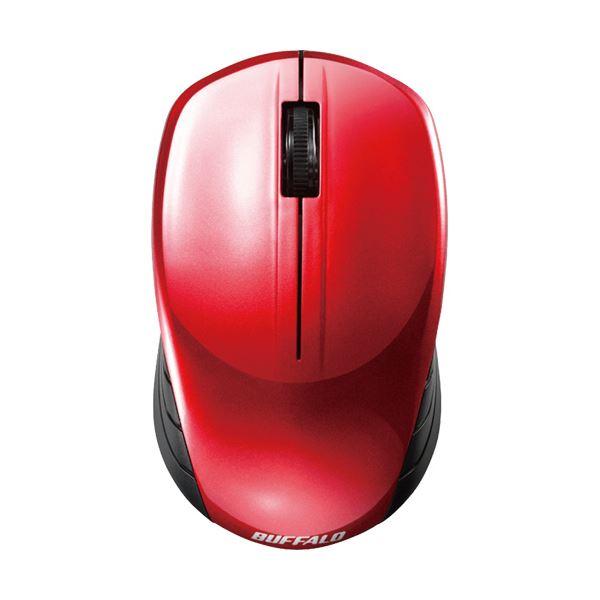 (まとめ) バッファロー 無線 BlueLED3ボタン スタンダードマウス レッド BSMBW107RD 1個 【×10セット】