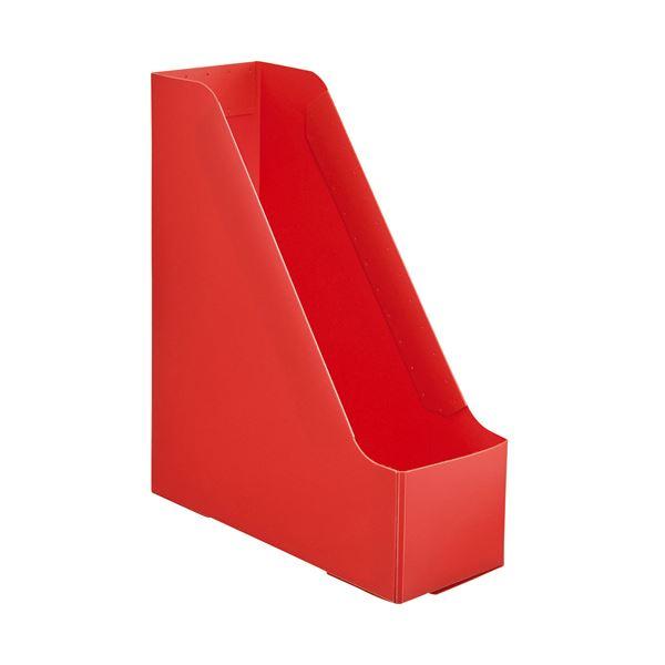 (まとめ) TANOSEEPP製ボックスファイル(組み立て式) A4 タテ レッド 1個 【×50セット】