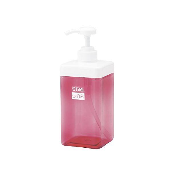 (まとめ) 角型 ディスペンサー/詰め替えボトル 【800ml ピンク】 透明 バス用品 『Sfile』 【72個セット】