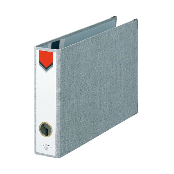 (まとめ) ライオン事務器 スモールファイル A4ヨコ 2穴 270枚収容 背幅60mm グレー No.30-A4E 1冊 【×10セット】
