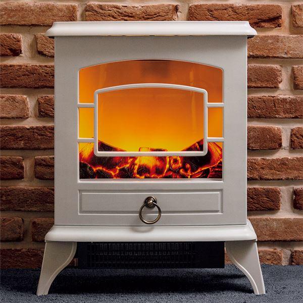 アンティーク風 暖炉型ヒーター/温風器 【ホワイト】 幅約40cm 2段階切替機能付き 脚付き 『ノスタルジア』 〔リビング〕