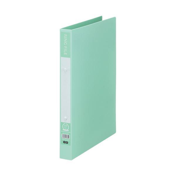 (まとめ)TANOSEE リングファイル(再生PP表紙)A4タテ 2穴 200枚収容 背幅30mm ミントグリーン 1セット(10冊)【×5セット】