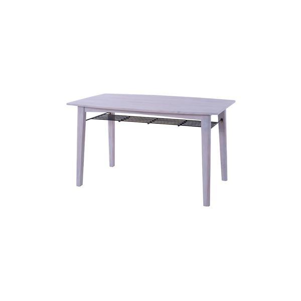 ダイニングテーブル/食卓テーブル 【ホワイト 幅130cm】 木製 棚板1枚付き 『ブリジット』 〔リビング ダイニング〕【代引不可】