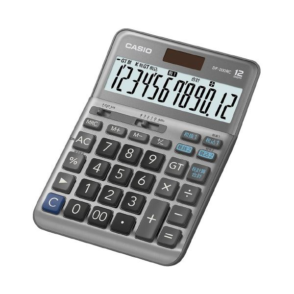 (まとめ)カシオ計算機 軽減税率電卓 デスクタイプ DF-200RC-N(×2セット)