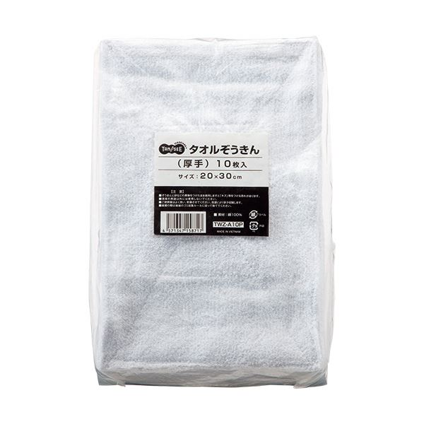 (まとめ) TANOSEE タオルぞうきん 厚手 1パック(10枚) 【×10セット】