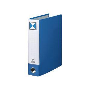 (まとめ) TANOSEE 片開きパイプ式ファイルKJ(指かけ穴付) A4タテ 500枚収容 背幅66mm 青 1冊 【×30セット】