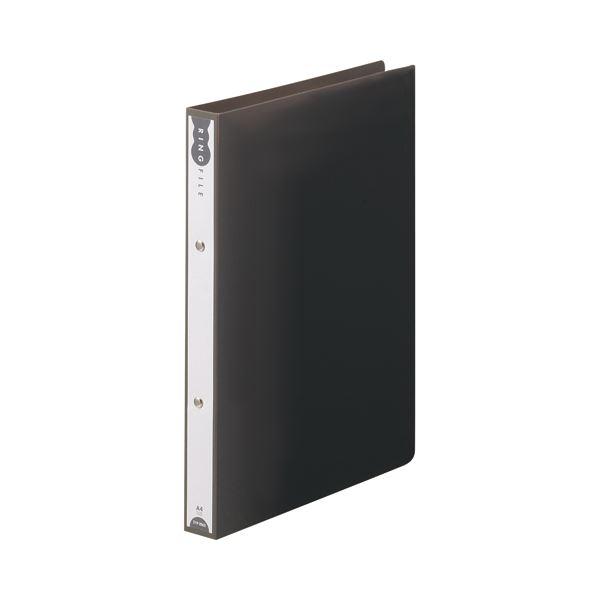 (まとめ) TANOSEE リングファイル(PP表紙) A4タテ 2穴 180枚収容 背幅31mm ダークグレー 1セット(10冊) 【×10セット】