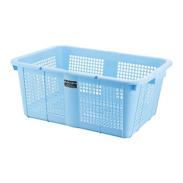 (まとめ) スーパーホームバスケット/収納かご 【ブルー】 大型 幅61×奥行42.6×高さ24.5cm 【20個セット】