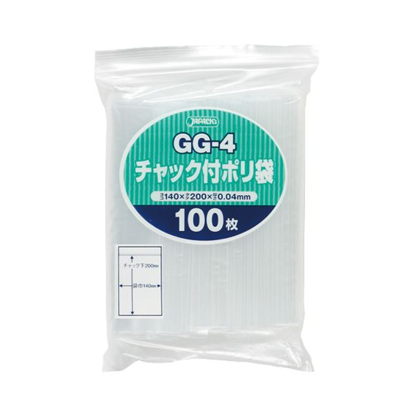 (まとめ) ジャパックス チャック付ポリ袋 ヨコ140×タテ200×厚み0.04mm GG-4 1パック(100枚) 【×30セット】