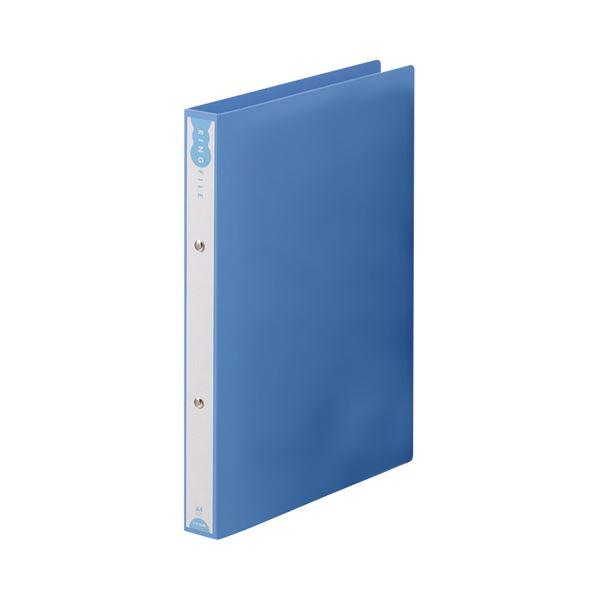 (まとめ) TANOSEE リングファイル(PP表紙) A4タテ 2穴 180枚収容 背幅31mm ブルー 1セット(10冊) 【×10セット】