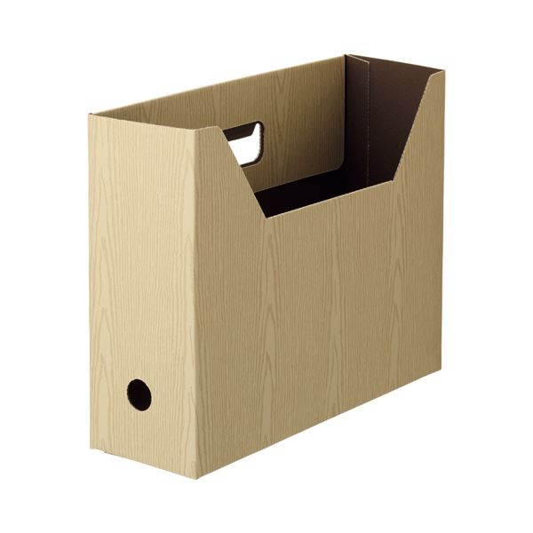 (まとめ) TANOSEE ボックスファイル(WOODY) A4ヨコ 背幅100mm ナチュラル 1パック(3冊) 【×30セット】
