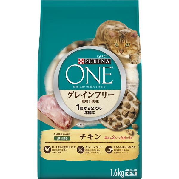 (まとめ)ピュリナワン キャット グレインフリー チキン 1.6kg【×6セット】【ペット用品・猫用フード】