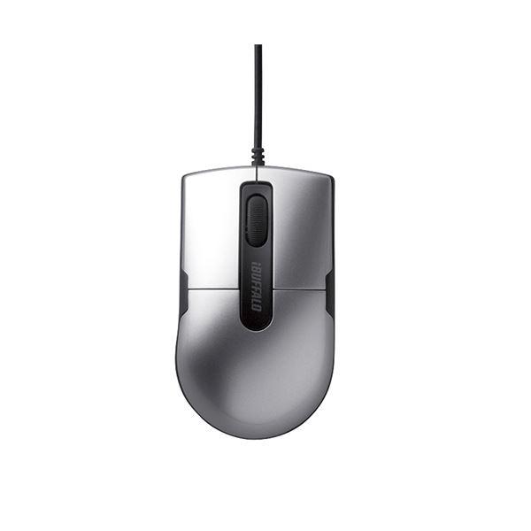 (まとめ) バッファロー 有線BlueLEDマウス静音 3ボタン Sサイズ シルバー BSMBU26SSSV 1個 【×10セット】
