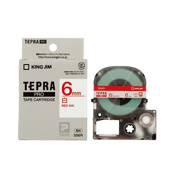 (まとめ) キングジム テプラ PRO テープカートリッジ 6mm 白/赤文字 SS6R 1個 【×10セット】