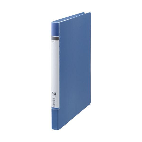 (まとめ) TANOSEE Zファイル(貼り表紙)ロングタイプ 青 1セット(10冊) 【×5セット】