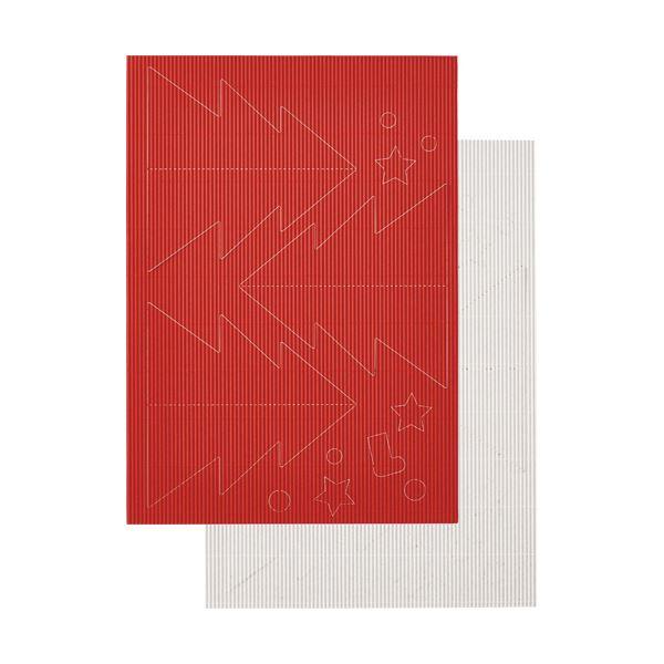 (まとめ) ヒサゴ リップルボード 薄口 型抜きクリスマスツリー 赤・白 RBUT1 1パック 【×30セット】