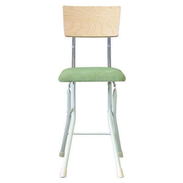 折りたたみ椅子 【同色2脚セット ナチュラル×グリーン×ミルキーホワイト】 幅32cm 日本製 スチールパイプ 『アッシュウッドチェア』【代引不可】