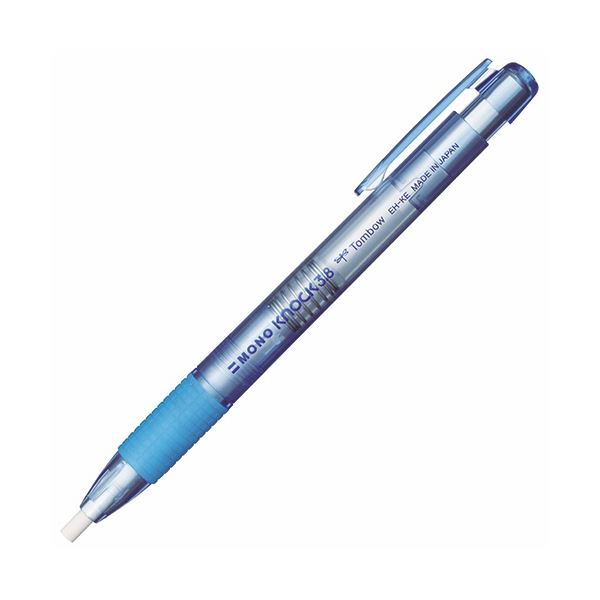 (まとめ) トンボ鉛筆 ホルダー消しゴムモノノック3.8 透明ブルー EH-KE40 1個 【×100セット】