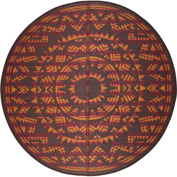 い草センターラグ(裏貼り) アステカ 直径 約180cm ブラウン【代引不可】