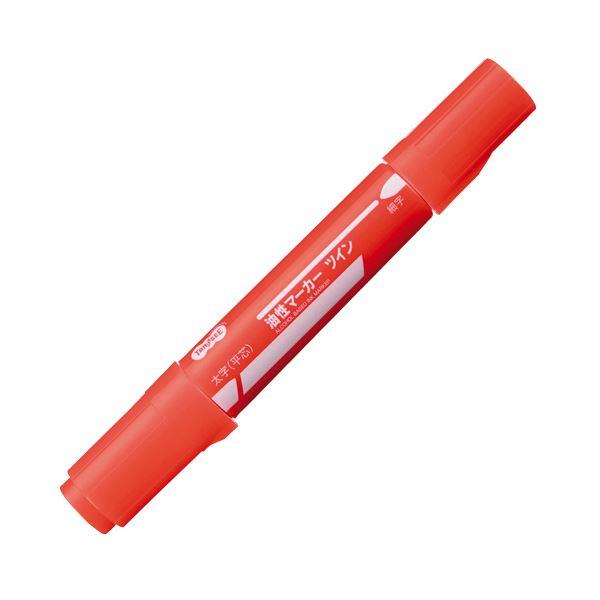 (まとめ) TANOSEE キャップ式油性マーカー ツイン 太字+細字 赤 1セット(10本) 【×30セット】