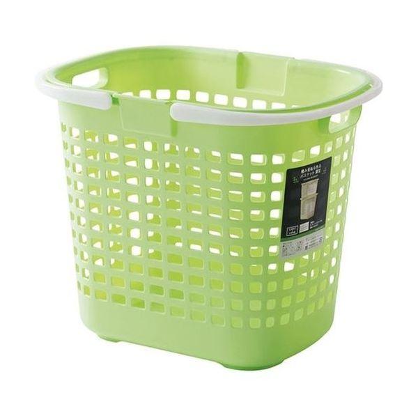 (まとめ) S-ロングバスケット/収納かご 【グリーン】深型 持ち手付き 洗濯かご 脱衣かご おもちゃ収納 【20個セット】