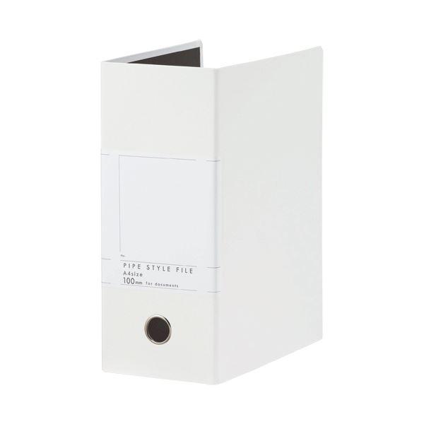 (まとめ)TANOSEE 両開きパイプ式ファイルSt A4タテ 1000枚収容 100mmとじ 背幅127mm ホワイト 1冊【×10セット】