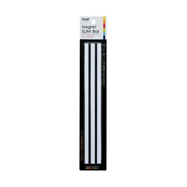 (まとめ) マグエックス マグネットスリムバー W220×H6×D7mm 白 MSLB-220-3P-W 1パック(3本) 【×30セット】