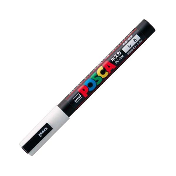 (まとめ) 三菱鉛筆 水性マーカー ポスカ 細字丸芯 白 PC3M.1 1本 【×50セット】