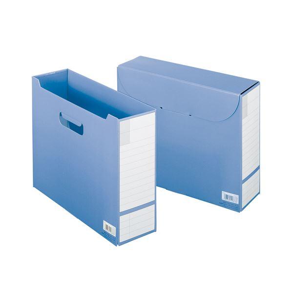 (まとめ) ライオン事務器 フタ付ボックスファイルA4ヨコ 背幅102mm ブルー OL-6 1冊 【×30セット】