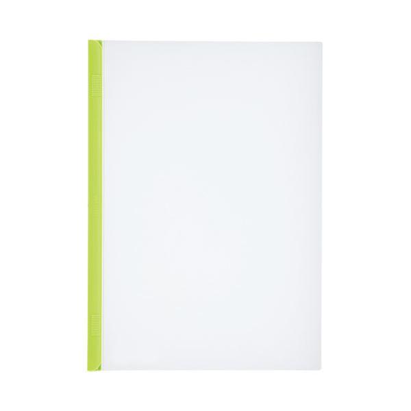 (まとめ)LIHITLAB スライドバーファイル G1720-6 黄緑 10冊【×30セット】