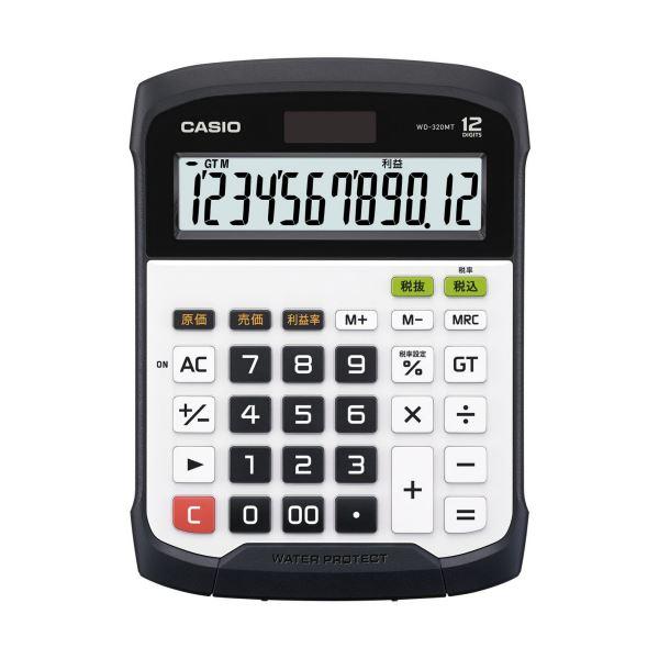 (まとめ)カシオ 防水・防塵電卓 12桁デスクサイズ WD-320MT-N 1台【×3セット】