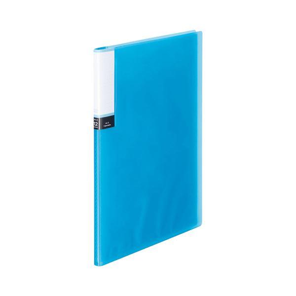 (まとめ) TANOSEE クリアブック(透明表紙) A4タテ 12ポケット 背幅8mm ブルー 1セット(10冊) 【×10セット】