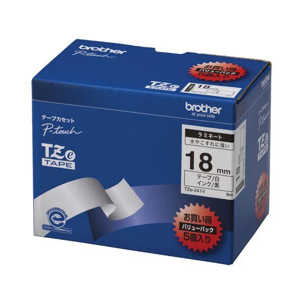 (まとめ)ブラザー BROTHER ピータッチ TZeテープ ラミネートテープ 18mm 白/黒文字 業務用パック TZE-241V 1パック(5個)【×3セット】