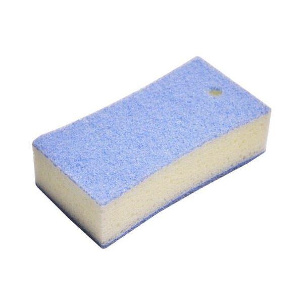 (まとめ) ツインバスクリーナー/バススポンジ 【ブルー】 フック穴付き お風呂きれい 風呂掃除 【130個セット】