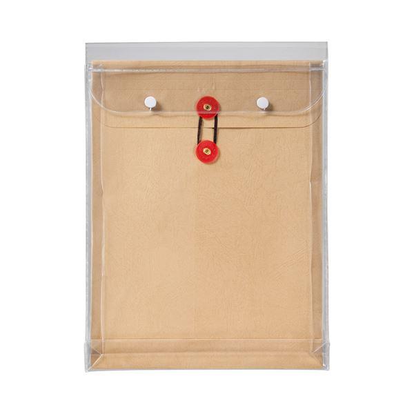 (まとめ) ピース マチヒモ付ビニール保存袋 レザック 角2 184g/m2 茶 業務用パック 912-30 1パック(3枚) 【×10セット】