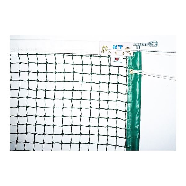 KTネット 全天候式上部ダブル 硬式テニスネット センターストラップ付き 日本製 【サイズ:12.65×1.07m】 グリーン KT6228