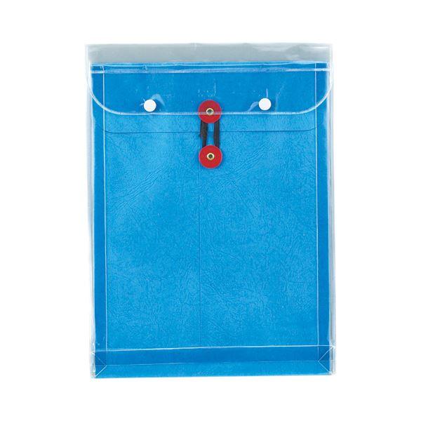 (まとめ) ピース マチヒモ付ビニール保存袋 レザック 角2 184g/m2 青 業務用パック 915-30 1パック(3枚) 【×10セット】