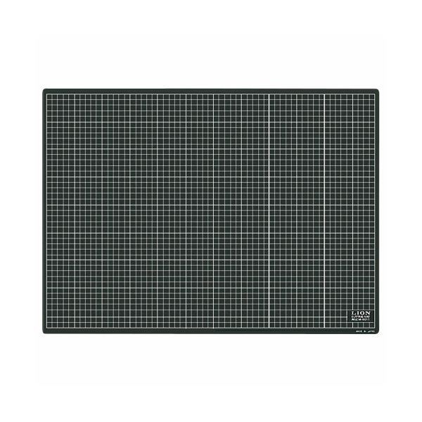 (まとめ)ライオン事務器 カッティングマット再生PVC製 両面使用 620×450×3mm 黒/黒 CM-6011 1枚【×3セット】
