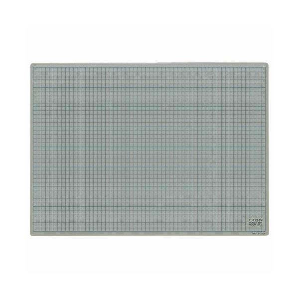 (まとめ)ライオン事務器 カッティングマット再生PVC製 両面使用 620×450×3mm 灰/黒 CM-6012 1枚【×3セット】