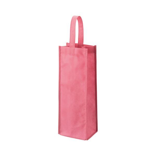 (まとめ) TANOSEE 不織布ワイン袋 ヨコ130×タテ370×マチ幅85mm ローズピンク 1パック(10枚) 【×10セット】