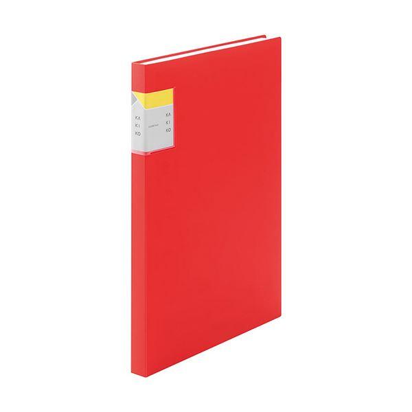 (まとめ) キングジム クリアーファイル カキコA4タテ 40ポケット(小口20枚) 背幅20mm 赤 8632Wアカ 1冊 【×10セット】