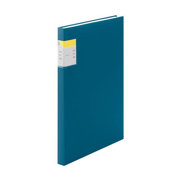 (まとめ) キングジム クリアーファイル カキコA4タテ 40ポケット(小口20枚) 背幅20mm ネイビー 8632Wネイ 1冊 【×10セット】